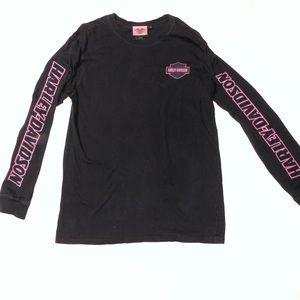 Harley Davidson Pink/Black Long Sleeve Spellout M